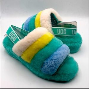 NEW UGG Yeah Fluff Yellow Striped Slip On Slippers